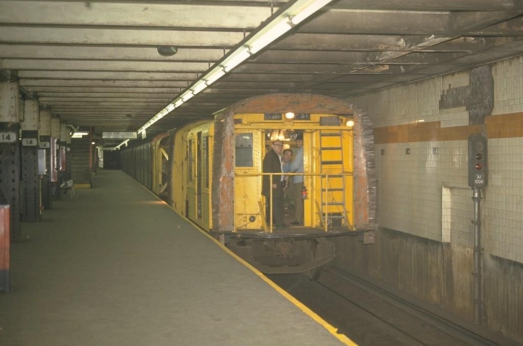 (150k, 1024x679)<br><b>Country:</b> United States<br><b>City:</b> New York<br><b>System:</b> New York City Transit<br><b>Line:</b> IND 8th Avenue Line<br><b>Location:</b> 14th Street <br><b>Car:</b> R-1 (American Car & Foundry, 1930-1931) XC575 (ex-192)<br><b>Photo by:</b> Joe Testagrose<br><b>Date:</b> 5/19/1970<br><b>Notes:</b> 75' Test Car ex-192<br><b>Viewed (this week/total):</b> 2 / 3423