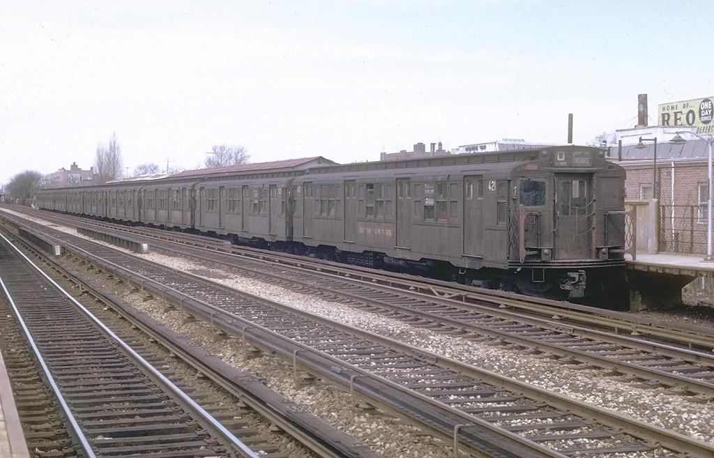 (201k, 1024x657)<br><b>Country:</b> United States<br><b>City:</b> New York<br><b>System:</b> New York City Transit<br><b>Line:</b> BMT Brighton Line<br><b>Location:</b> Avenue M <br><b>Route:</b> D<br><b>Car:</b> R-4 (American Car & Foundry, 1932-1933) 421 <br><b>Photo by:</b> Joe Testagrose<br><b>Date:</b> 4/19/1970<br><b>Viewed (this week/total):</b> 0 / 4780