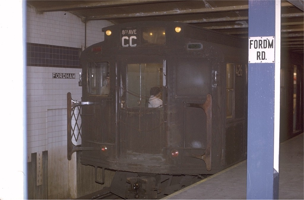 (140k, 1024x675)<br><b>Country:</b> United States<br><b>City:</b> New York<br><b>System:</b> New York City Transit<br><b>Line:</b> IND Concourse Line<br><b>Location:</b> Fordham Road <br><b>Route:</b> CC<br><b>Car:</b> R-4 (American Car & Foundry, 1932-1933) 426 <br><b>Photo by:</b> Joe Testagrose<br><b>Date:</b> 12/31/1970<br><b>Viewed (this week/total):</b> 1 / 3853