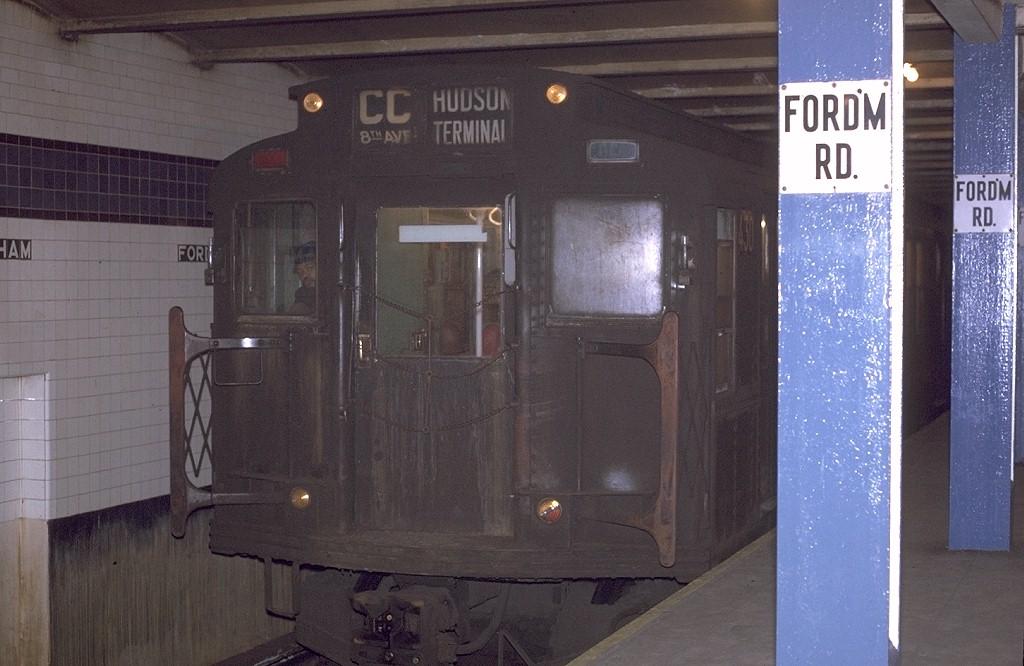 (172k, 1024x666)<br><b>Country:</b> United States<br><b>City:</b> New York<br><b>System:</b> New York City Transit<br><b>Line:</b> IND Concourse Line<br><b>Location:</b> Fordham Road <br><b>Route:</b> CC<br><b>Car:</b> R-4 (American Car & Foundry, 1932-1933) 430 <br><b>Photo by:</b> Joe Testagrose<br><b>Date:</b> 12/31/1970<br><b>Viewed (this week/total):</b> 1 / 3680