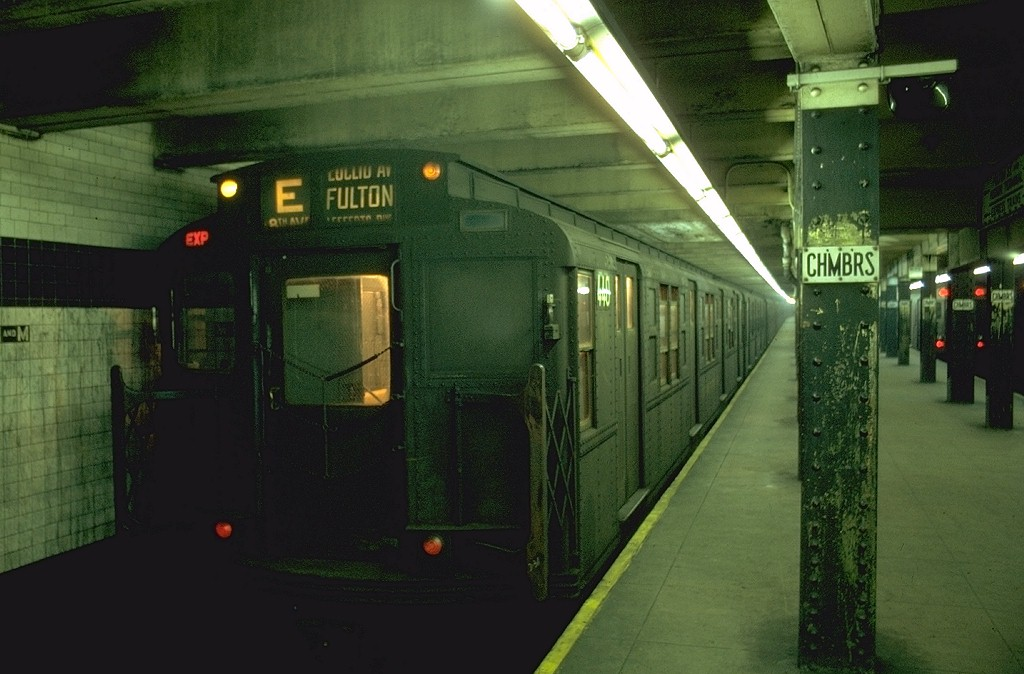 (166k, 1024x674)<br><b>Country:</b> United States<br><b>City:</b> New York<br><b>System:</b> New York City Transit<br><b>Line:</b> IND 8th Avenue Line<br><b>Location:</b> Chambers Street/World Trade Center <br><b>Route:</b> E<br><b>Car:</b> R-4 (American Car & Foundry, 1932-1933) 440 <br><b>Photo by:</b> Joe Testagrose<br><b>Date:</b> 7/31/1969<br><b>Viewed (this week/total):</b> 5 / 3823