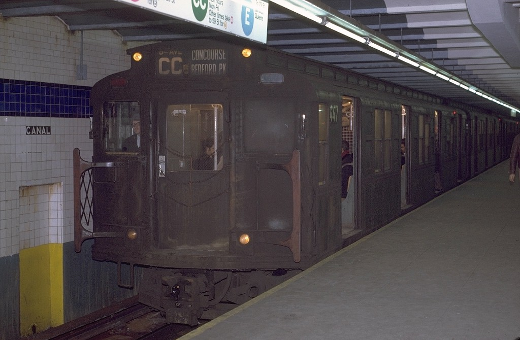 (159k, 1024x670)<br><b>Country:</b> United States<br><b>City:</b> New York<br><b>System:</b> New York City Transit<br><b>Line:</b> IND 8th Avenue Line<br><b>Location:</b> Canal Street-Holland Tunnel <br><b>Route:</b> CC<br><b>Car:</b> R-4 (American Car & Foundry, 1932-1933) 447 <br><b>Photo by:</b> Joe Testagrose<br><b>Date:</b> 12/30/1970<br><b>Viewed (this week/total):</b> 0 / 4579