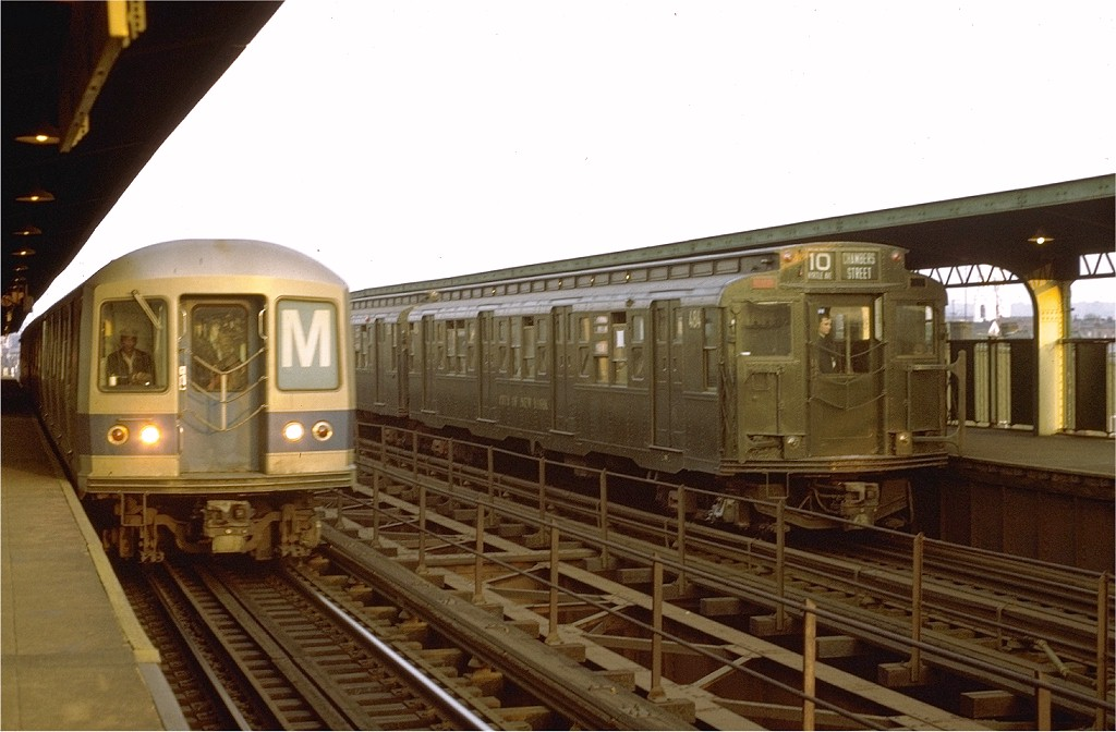 (161k, 1024x672)<br><b>Country:</b> United States<br><b>City:</b> New York<br><b>System:</b> New York City Transit<br><b>Line:</b> BMT Myrtle Avenue Line<br><b>Location:</b> Central Avenue <br><b>Route:</b> Fan Trip<br><b>Car:</b> R-4 (American Car & Foundry, 1932-1933) 484 <br><b>Photo by:</b> Joe Testagrose<br><b>Date:</b> 10/30/1971<br><b>Viewed (this week/total):</b> 0 / 4522