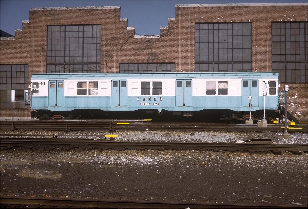 (266k, 1024x696)<br><b>Country:</b> United States<br><b>City:</b> New York<br><b>System:</b> New York City Transit<br><b>Location:</b> Jamaica Yard/Shops<br><b>Car:</b> R-4 (American Car & Foundry, 1932-1933) 491 (ex-401)<br><b>Photo by:</b> Steve Zabel<br><b>Collection of:</b> Joe Testagrose<br><b>Date:</b> 4/16/1973<br><b>Viewed (this week/total):</b> 7 / 3865
