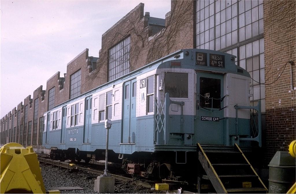 (216k, 1024x672)<br><b>Country:</b> United States<br><b>City:</b> New York<br><b>System:</b> New York City Transit<br><b>Location:</b> Jamaica Yard/Shops<br><b>Car:</b> R-4 (American Car & Foundry, 1932-1933) 491 (ex-401)<br><b>Photo by:</b> Steve Zabel<br><b>Collection of:</b> Joe Testagrose<br><b>Date:</b> 2/17/1971<br><b>Viewed (this week/total):</b> 3 / 3795