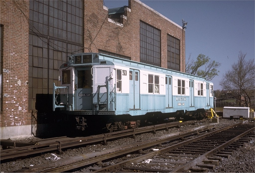 (274k, 1024x696)<br><b>Country:</b> United States<br><b>City:</b> New York<br><b>System:</b> New York City Transit<br><b>Location:</b> Jamaica Yard/Shops<br><b>Car:</b> R-4 (American Car & Foundry, 1932-1933) 491 (ex-401)<br><b>Photo by:</b> Steve Zabel<br><b>Collection of:</b> Joe Testagrose<br><b>Date:</b> 4/16/1973<br><b>Viewed (this week/total):</b> 0 / 4386
