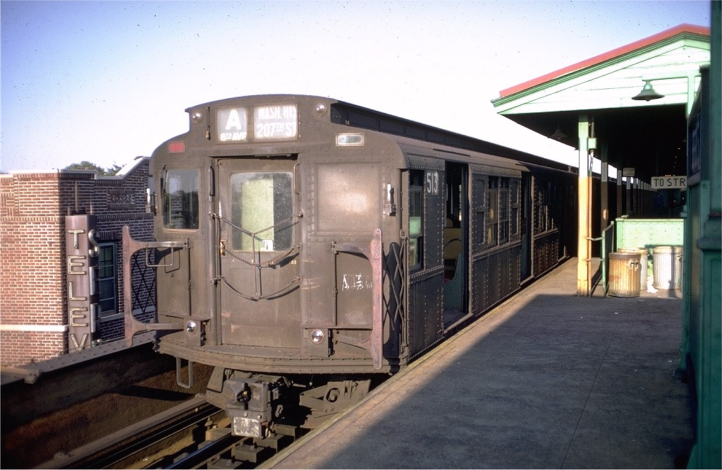 (206k, 1024x666)<br><b>Country:</b> United States<br><b>City:</b> New York<br><b>System:</b> New York City Transit<br><b>Line:</b> IND Fulton Street Line<br><b>Location:</b> Lefferts Boulevard <br><b>Route:</b> A<br><b>Car:</b> R-4 (American Car & Foundry, 1932-1933) 513 <br><b>Photo by:</b> Doug Grotjahn<br><b>Collection of:</b> Joe Testagrose<br><b>Date:</b> 9/7/1968<br><b>Viewed (this week/total):</b> 2 / 5720