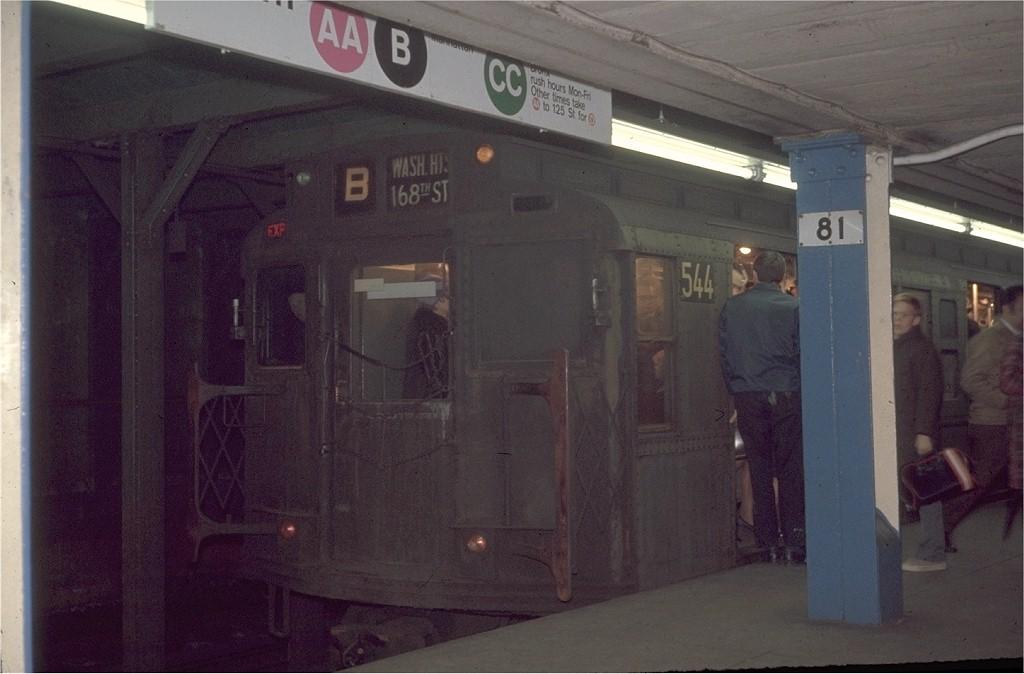 (152k, 1024x674)<br><b>Country:</b> United States<br><b>City:</b> New York<br><b>System:</b> New York City Transit<br><b>Line:</b> IND 8th Avenue Line<br><b>Location:</b> 81st Street/Museum of Natural History <br><b>Route:</b> B<br><b>Car:</b> R-4 (American Car & Foundry, 1932-1933) 544 <br><b>Photo by:</b> Steve Zabel<br><b>Collection of:</b> Joe Testagrose<br><b>Date:</b> 11/23/1970<br><b>Viewed (this week/total):</b> 5 / 9377