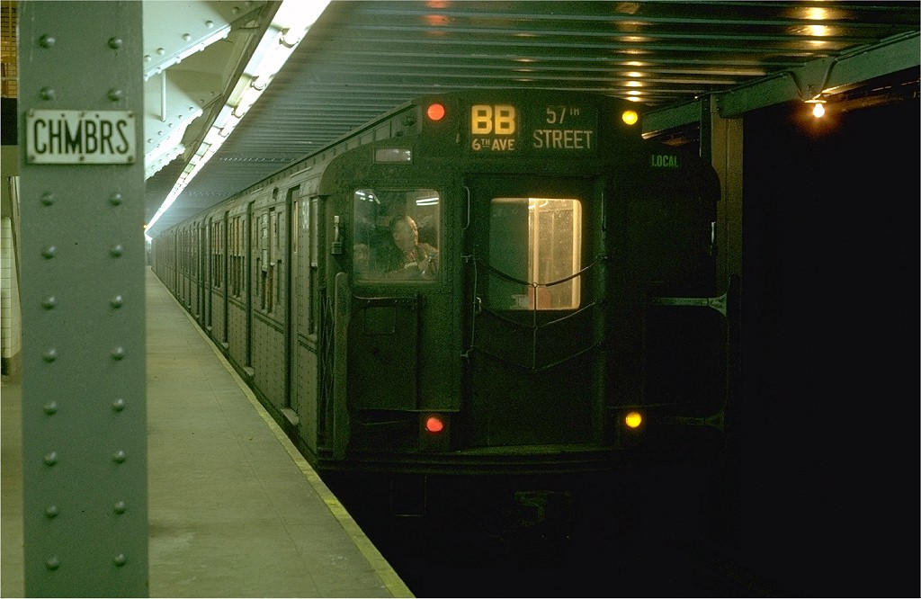 (160k, 1024x666)<br><b>Country:</b> United States<br><b>City:</b> New York<br><b>System:</b> New York City Transit<br><b>Line:</b> IND 8th Avenue Line<br><b>Location:</b> Chambers Street/World Trade Center <br><b>Route:</b> AA<br><b>Car:</b> R-4 (American Car & Foundry, 1932-1933) 548 <br><b>Photo by:</b> Joe Testagrose<br><b>Date:</b> 1/30/1970<br><b>Viewed (this week/total):</b> 0 / 4169