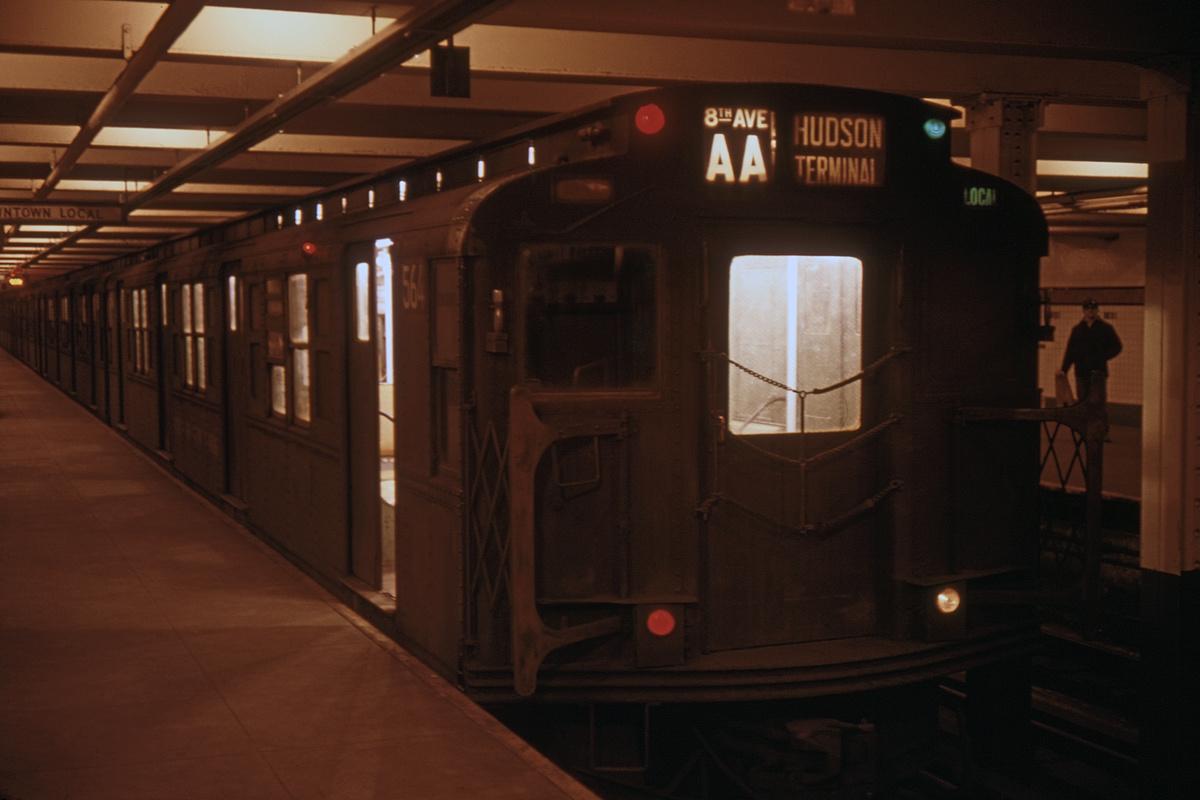 (208k, 1024x683)<br><b>Country:</b> United States<br><b>City:</b> New York<br><b>System:</b> New York City Transit<br><b>Line:</b> IND 8th Avenue Line<br><b>Location:</b> 168th Street <br><b>Route:</b> AA<br><b>Car:</b> R-4 (American Car & Foundry, 1932-1933) 564 <br><b>Collection of:</b> David Pirmann<br><b>Date:</b> 1/26/1969<br><b>Viewed (this week/total):</b> 2 / 5203