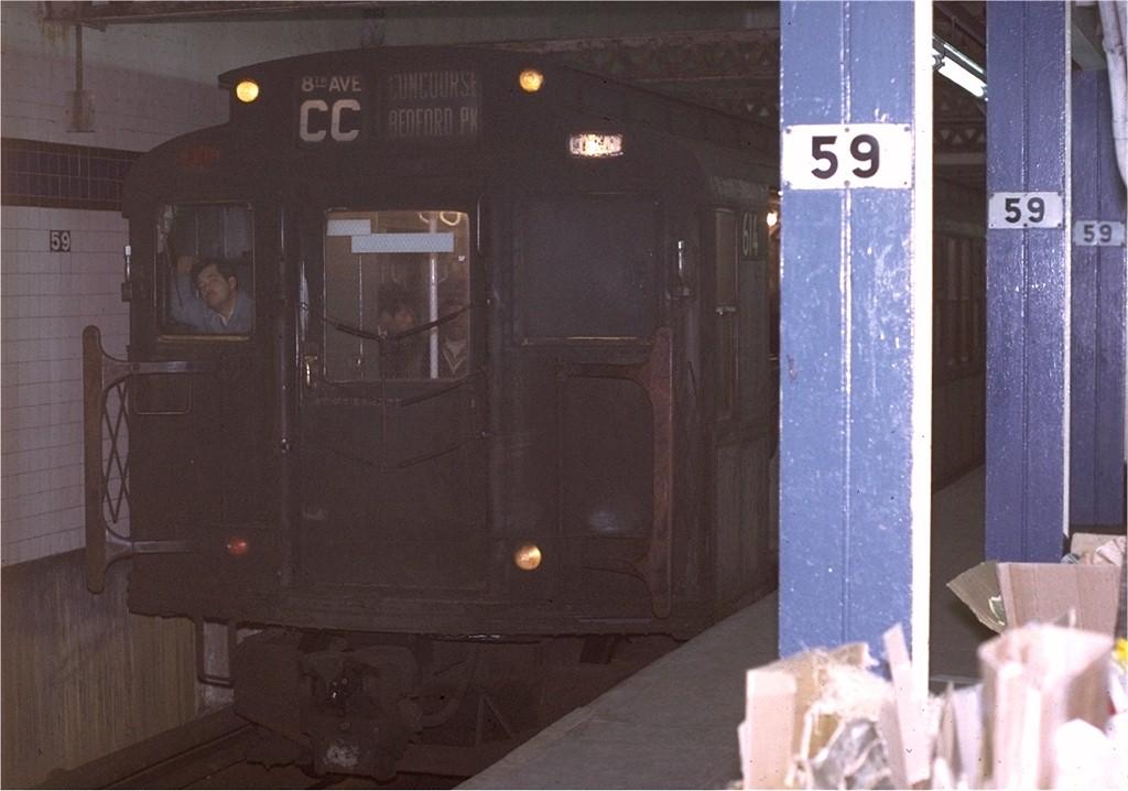 (152k, 1024x718)<br><b>Country:</b> United States<br><b>City:</b> New York<br><b>System:</b> New York City Transit<br><b>Line:</b> IND 8th Avenue Line<br><b>Location:</b> 59th Street/Columbus Circle <br><b>Route:</b> CC<br><b>Car:</b> R-4 (American Car & Foundry, 1932-1933) 614 <br><b>Photo by:</b> Joe Testagrose<br><b>Date:</b> 11/27/1970<br><b>Viewed (this week/total):</b> 1 / 3381