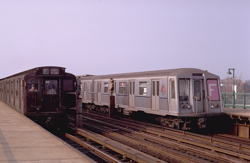 (162k, 1024x667)<br><b>Country:</b> United States<br><b>City:</b> New York<br><b>System:</b> New York City Transit<br><b>Line:</b> BMT Culver Line<br><b>Location:</b> Bay Parkway (22nd Avenue) <br><b>Route:</b> F<br><b>Car:</b> R-4 (American Car & Foundry, 1932-1933) 842 <br><b>Photo by:</b> Doug Grotjahn<br><b>Collection of:</b> Joe Testagrose<br><b>Date:</b> 8/10/1968<br><b>Notes:</b> With 4437<br><b>Viewed (this week/total):</b> 0 / 3632