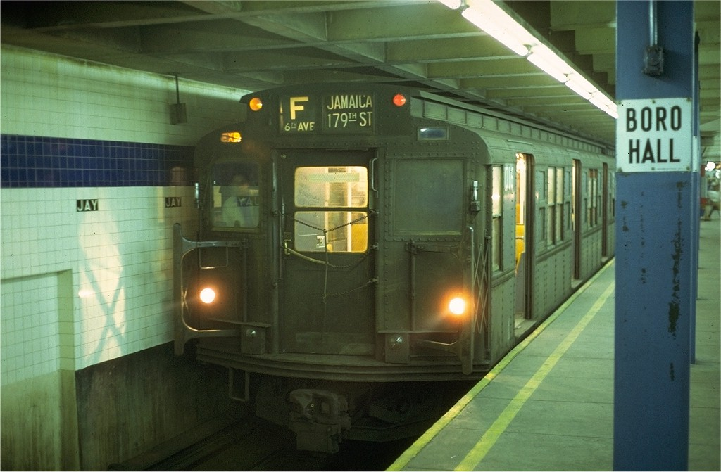 (159k, 1024x671)<br><b>Country:</b> United States<br><b>City:</b> New York<br><b>System:</b> New York City Transit<br><b>Line:</b> IND 8th Avenue Line<br><b>Location:</b> Jay St./Metrotech (Borough Hall) <br><b>Route:</b> F<br><b>Car:</b> R-6-3 (American Car & Foundry, 1935)  1016 <br><b>Photo by:</b> Joe Testagrose<br><b>Date:</b> 5/24/1972<br><b>Viewed (this week/total):</b> 3 / 4629