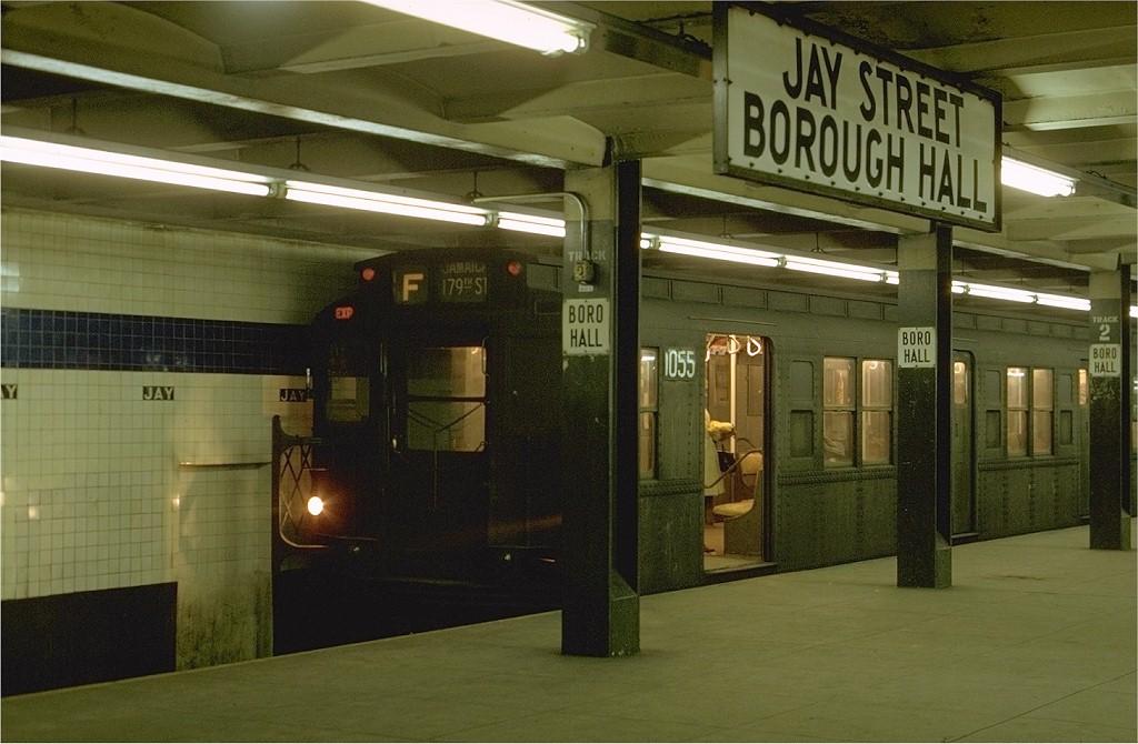 (178k, 1024x670)<br><b>Country:</b> United States<br><b>City:</b> New York<br><b>System:</b> New York City Transit<br><b>Line:</b> IND 8th Avenue Line<br><b>Location:</b> Jay St./Metrotech (Borough Hall) <br><b>Route:</b> F<br><b>Car:</b> R-6-3 (American Car & Foundry, 1935)  1055 <br><b>Photo by:</b> Joe Testagrose<br><b>Date:</b> 1/31/1970<br><b>Viewed (this week/total):</b> 2 / 4403