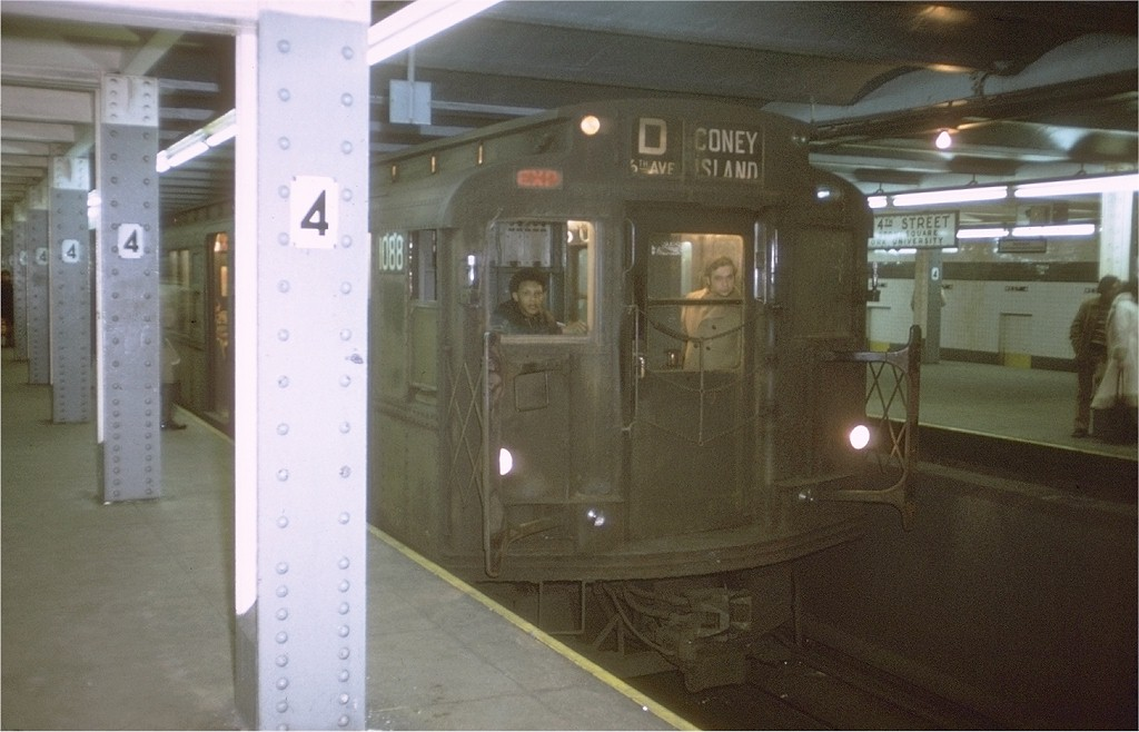(156k, 1024x658)<br><b>Country:</b> United States<br><b>City:</b> New York<br><b>System:</b> New York City Transit<br><b>Line:</b> IND 6th Avenue Line<br><b>Location:</b> West 4th Street/Washington Square <br><b>Route:</b> D<br><b>Car:</b> R-6-3 (American Car & Foundry, 1935)  1088 <br><b>Photo by:</b> Doug Grotjahn<br><b>Collection of:</b> Joe Testagrose<br><b>Date:</b> 1/6/1972<br><b>Viewed (this week/total):</b> 6 / 5293