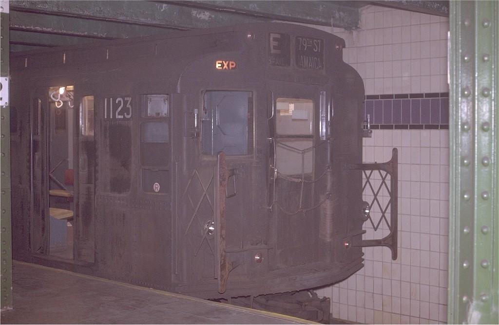 (145k, 1024x668)<br><b>Country:</b> United States<br><b>City:</b> New York<br><b>System:</b> New York City Transit<br><b>Line:</b> IND 8th Avenue Line<br><b>Location:</b> 42nd Street/Port Authority Bus Terminal (Lower Level) <br><b>Route:</b> E<br><b>Car:</b> R-6-3 (American Car & Foundry, 1935)  1123 <br><b>Photo by:</b> Joe Testagrose<br><b>Date:</b> 11/27/1970<br><b>Viewed (this week/total):</b> 0 / 9971