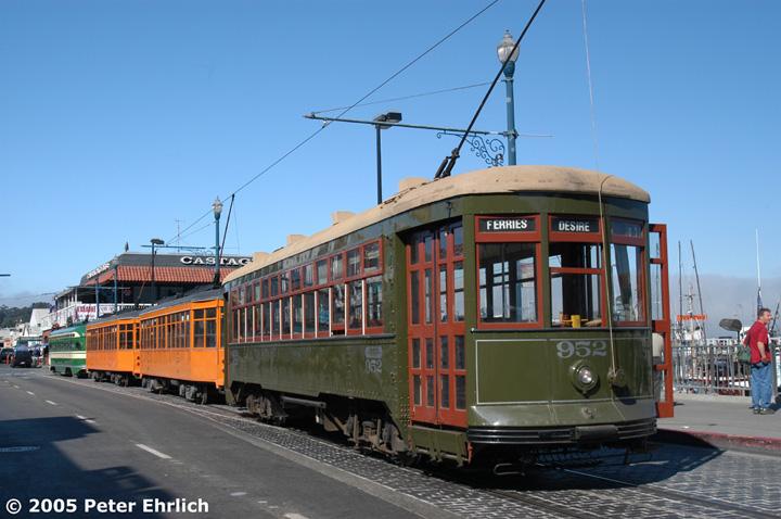 (133k, 720x478)<br><b>Country:</b> United States<br><b>City:</b> San Francisco/Bay Area, CA<br><b>System:</b> SF MUNI<br><b>Location:</b> Jefferson/Jones <br><b>Car:</b> New Orleans Public Service (Perley A. Thomas Car Works, 1924) 952 <br><b>Photo by:</b> Peter Ehrlich<br><b>Date:</b> 9/24/2002<br><b>Notes:</b> Four-car lineup on Jefferson Street.<br><b>Viewed (this week/total):</b> 0 / 1013