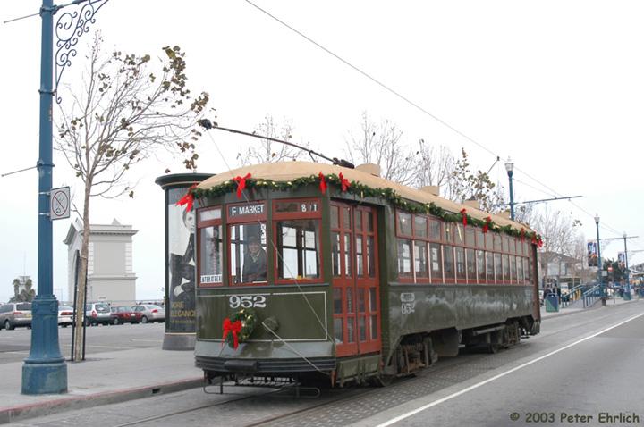 (131k, 720x478)<br><b>Country:</b> United States<br><b>City:</b> San Francisco/Bay Area, CA<br><b>System:</b> SF MUNI<br><b>Location:</b> Jefferson/Mason <br><b>Car:</b> New Orleans Public Service (Perley A. Thomas Car Works, 1924) 952 <br><b>Photo by:</b> Peter Ehrlich<br><b>Date:</b> 12/25/2002<br><b>Viewed (this week/total):</b> 1 / 789