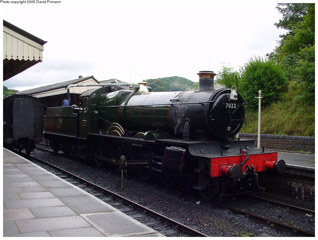 (177k, 1044x788)<br><b>Country:</b> United Kingdom<br><b>System:</b> Llangollen Railway <br><b>Location:</b> Llangollen<br><b>Car:</b> Locomotive 7822 <br><b>Photo by:</b> David Pirmann<br><b>Date:</b> 9/5/2000<br><b>Viewed (this week/total):</b> 5 / 1490
