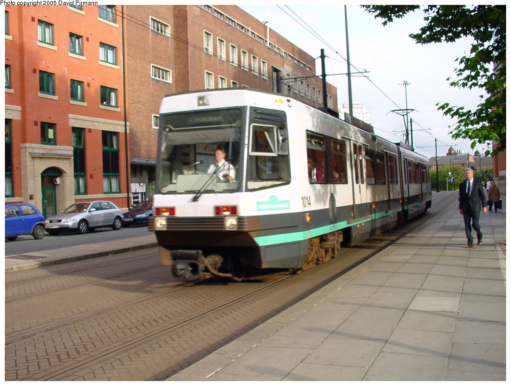 (189k, 1044x788)<br><b>Country:</b> United Kingdom<br><b>City:</b> Manchester<br><b>System:</b> Metrolink <br><b>Line:</b> City Center-Shared Stations<br><b>Location:</b> Aytoun St. <br><b>Car:</b> Manchester T68 (Ansaldo-Breda, 1992)  1014 <br><b>Photo by:</b> David Pirmann<br><b>Date:</b> 9/8/2000<br><b>Viewed (this week/total):</b> 1 / 2523