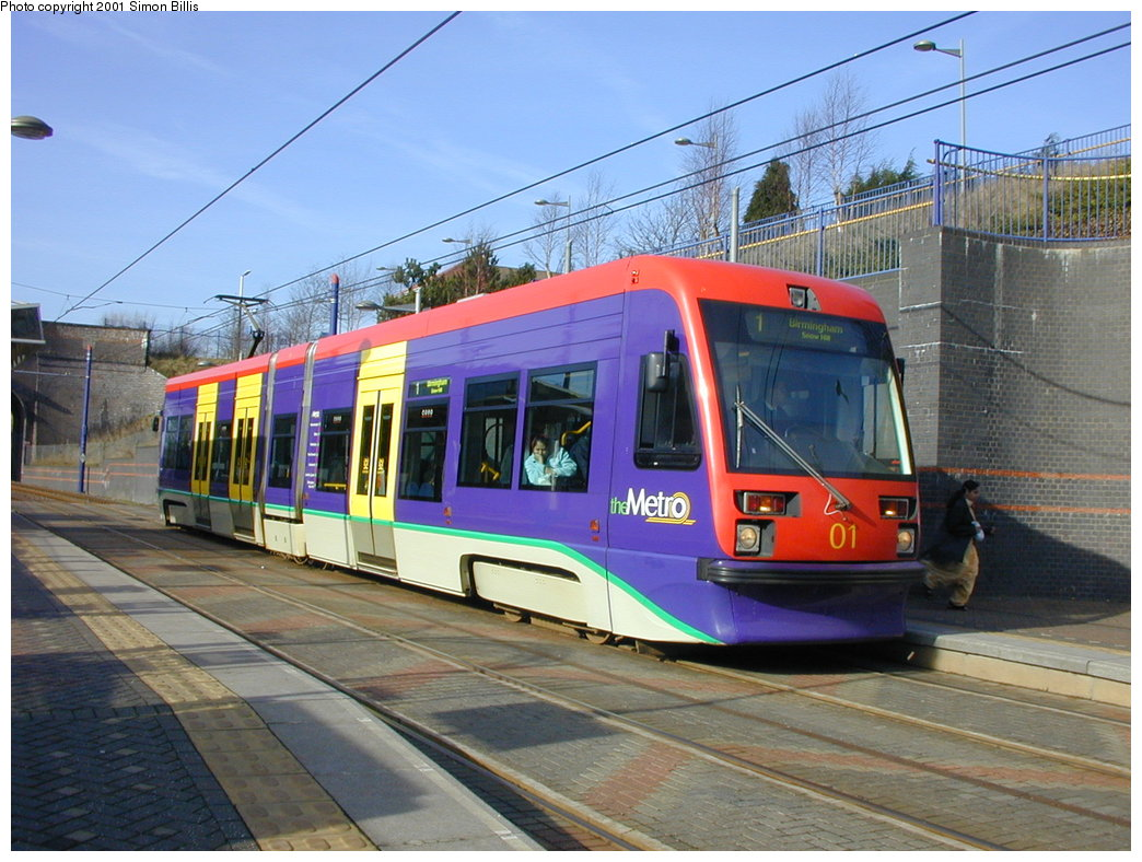 (196k, 1044x788)<br><b>Country:</b> United Kingdom<br><b>City:</b> Birmingham <br><b>System:</b> Midland Metro<br><b>Location:</b> The Hawthorns <br><b>Car:</b>  01 <br><b>Photo by:</b> Simon Billis<br><b>Date:</b> 3/29/2001<br><b>Viewed (this week/total):</b> 1 / 1470