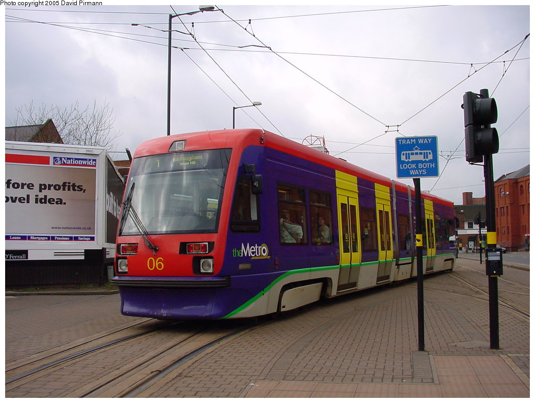 (168k, 1044x788)<br><b>Country:</b> United Kingdom<br><b>City:</b> Birmingham <br><b>System:</b> Midland Metro<br><b>Location:</b> Wolverhampton St. George's <br><b>Car:</b>  06 <br><b>Photo by:</b> David Pirmann<br><b>Date:</b> 3/29/2001<br><b>Viewed (this week/total):</b> 0 / 1470