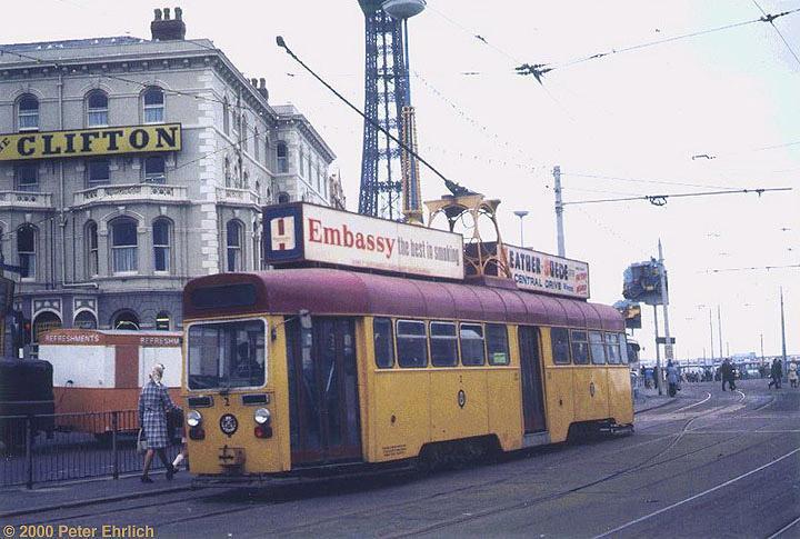 (133k, 720x485)<br><b>Country:</b> United Kingdom<br><b>City:</b> Blackpool<br><b>System:</b> Blackpool Transport<br><b>Car:</b> Blackpool Tram 2 <br><b>Photo by:</b> Peter Ehrlich<br><b>Date:</b> 8/21/1974<br><b>Notes:</b> OMO (one-man-operated) tram 2 at North Pier, enroute to Pleasure Beach. This series has been scrapped.<br><b>Viewed (this week/total):</b> 2 / 2460