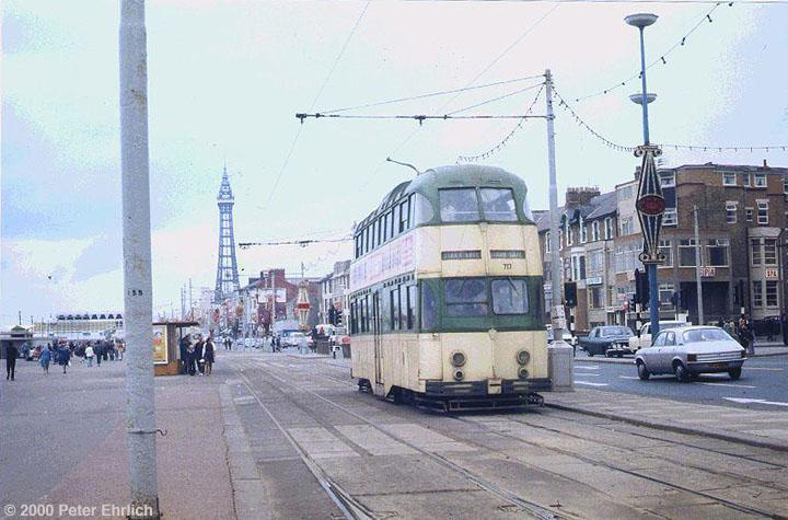 (122k, 720x475)<br><b>Country:</b> United Kingdom<br><b>City:</b> Blackpool<br><b>System:</b> Blackpool Transport<br><b>Car:</b> Blackpool Balloon (English Electric, 1934-1935)  717 <br><b>Photo by:</b> Peter Ehrlich<br><b>Date:</b> 8/21/1974<br><b>Notes:</b> Balloon 717 on the Promenade southbound.  Compare this picture of 717 with a later view, <a href=/perl/show?10364>image 10364</a>.<br><b>Viewed (this week/total):</b> 3 / 2276