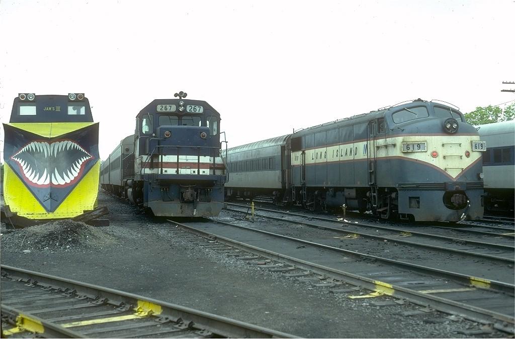 (167k, 1024x673)<br><b>Country:</b> United States<br><b>System:</b> Long Island Rail Road<br><b>Line:</b> LIRR Greenport<br><b>Location:</b> Ronkonkoma <br><b>Car:</b> LIRR EMD F9AM (HEP/Cab Only) 619 <br><b>Photo by:</b> Joe Testagrose<br><b>Date:</b> 5/16/1981<br><b>Viewed (this week/total):</b> 5 / 5700