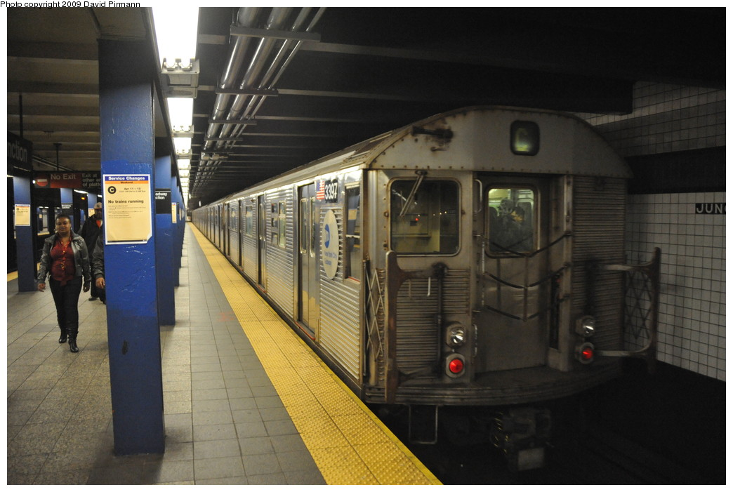 (235k, 1044x701)<br><b>Country:</b> United States<br><b>City:</b> New York<br><b>System:</b> New York City Transit<br><b>Line:</b> IND Fulton Street Line<br><b>Location:</b> Broadway/East New York (Broadway Junction) <br><b>Route:</b> C<br><b>Car:</b> R-32 (Budd, 1964)  3397 <br><b>Photo by:</b> David Pirmann<br><b>Date:</b> 4/10/2009<br><b>Viewed (this week/total):</b> 1 / 1619
