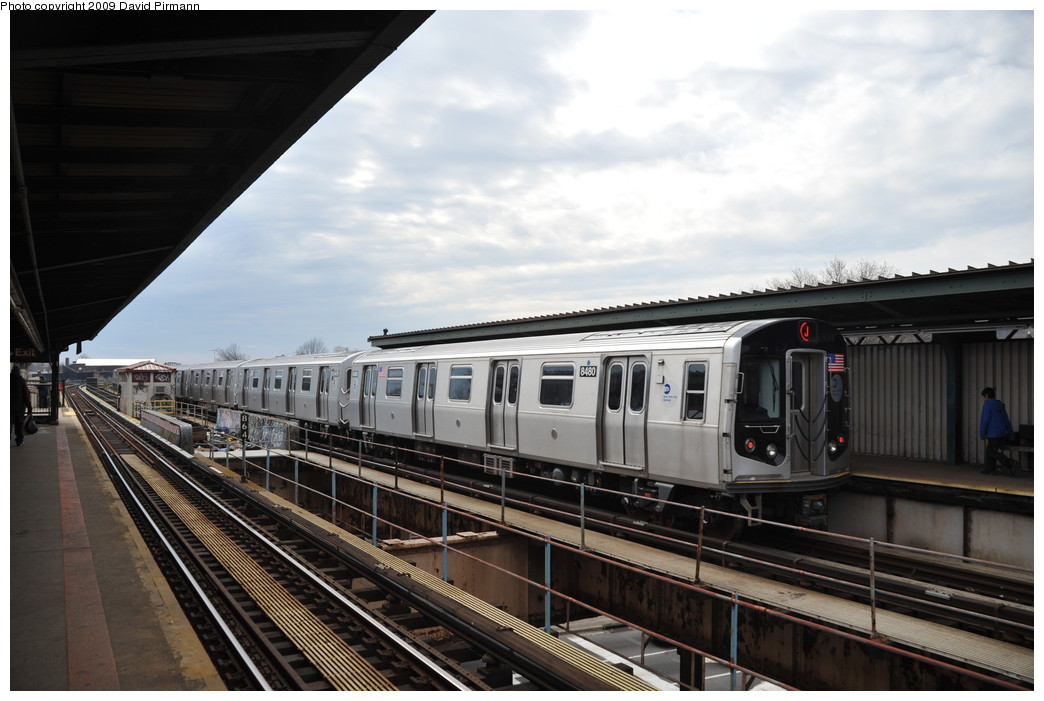 (233k, 1044x701)<br><b>Country:</b> United States<br><b>City:</b> New York<br><b>System:</b> New York City Transit<br><b>Line:</b> BMT Nassau Street/Jamaica Line<br><b>Location:</b> Woodhaven Boulevard <br><b>Route:</b> J<br><b>Car:</b> R-160A-1 (Alstom, 2005-2008, 4 car sets)  8480 <br><b>Photo by:</b> David Pirmann<br><b>Date:</b> 4/10/2009<br><b>Viewed (this week/total):</b> 1 / 1055