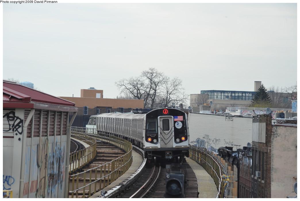 (218k, 1044x701)<br><b>Country:</b> United States<br><b>City:</b> New York<br><b>System:</b> New York City Transit<br><b>Line:</b> BMT Nassau Street/Jamaica Line<br><b>Location:</b> 102nd-104th Streets <br><b>Route:</b> J<br><b>Car:</b> R-160A-1 (Alstom, 2005-2008, 4 car sets)  8380 <br><b>Photo by:</b> David Pirmann<br><b>Date:</b> 4/10/2009<br><b>Viewed (this week/total):</b> 3 / 2239
