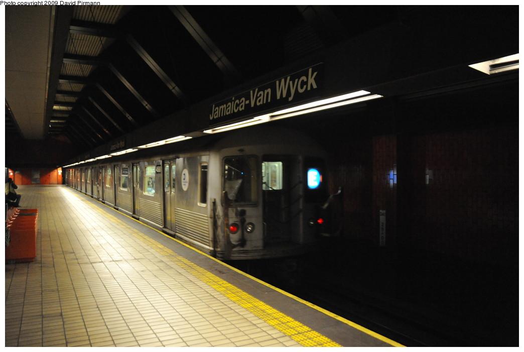 (206k, 1044x701)<br><b>Country:</b> United States<br><b>City:</b> New York<br><b>System:</b> New York City Transit<br><b>Line:</b> IND Queens Boulevard Line<br><b>Location:</b> Jamaica/Van Wyck <br><b>Route:</b> E<br><b>Car:</b> R-42 (St. Louis, 1969-1970)  4588 <br><b>Photo by:</b> David Pirmann<br><b>Date:</b> 4/10/2009<br><b>Viewed (this week/total):</b> 2 / 1692
