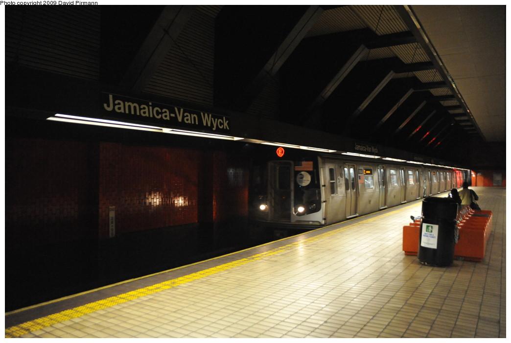 (210k, 1044x701)<br><b>Country:</b> United States<br><b>City:</b> New York<br><b>System:</b> New York City Transit<br><b>Line:</b> IND Queens Boulevard Line<br><b>Location:</b> Jamaica/Van Wyck <br><b>Route:</b> E<br><b>Car:</b> R-160B (Option 1) (Kawasaki, 2008-2009)  9168 <br><b>Photo by:</b> David Pirmann<br><b>Date:</b> 4/10/2009<br><b>Viewed (this week/total):</b> 1 / 2068