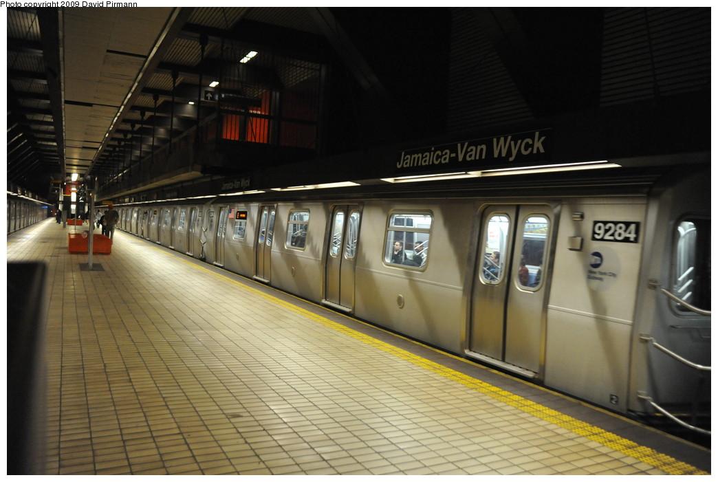 (234k, 1044x701)<br><b>Country:</b> United States<br><b>City:</b> New York<br><b>System:</b> New York City Transit<br><b>Line:</b> IND Queens Boulevard Line<br><b>Location:</b> Jamaica/Van Wyck <br><b>Route:</b> E<br><b>Car:</b> R-160A (Option 1) (Alstom, 2008-2009, 5 car sets)  9284 <br><b>Photo by:</b> David Pirmann<br><b>Date:</b> 4/10/2009<br><b>Viewed (this week/total):</b> 2 / 1560