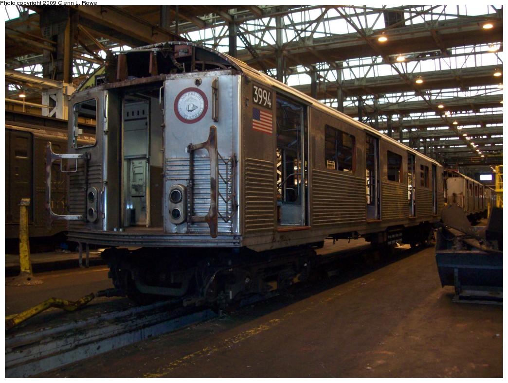 (231k, 1044x788)<br><b>Country:</b> United States<br><b>City:</b> New York<br><b>System:</b> New York City Transit<br><b>Location:</b> 207th Street Shop<br><b>Car:</b> R-38 (St. Louis, 1966-1967)  3994 <br><b>Photo by:</b> Glenn L. Rowe<br><b>Date:</b> 4/14/2009<br><b>Notes:</b> Scrap<br><b>Viewed (this week/total):</b> 0 / 869