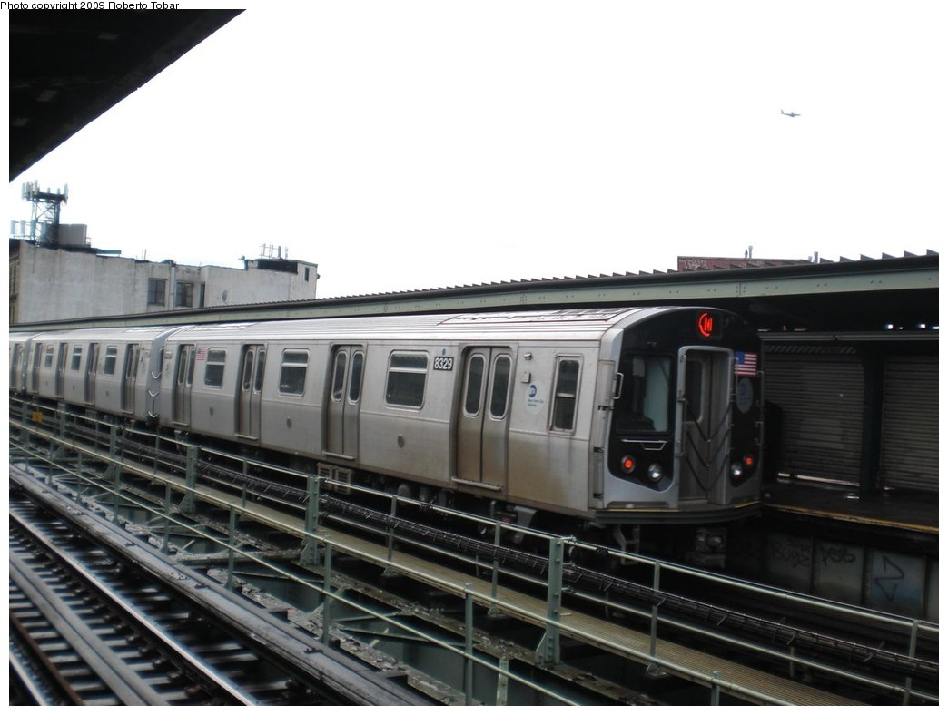 (189k, 1044x788)<br><b>Country:</b> United States<br><b>City:</b> New York<br><b>System:</b> New York City Transit<br><b>Line:</b> BMT Myrtle Avenue Line<br><b>Location:</b> Knickerbocker Avenue <br><b>Route:</b> M<br><b>Car:</b> R-160A-1 (Alstom, 2005-2008, 4 car sets)  8329 <br><b>Photo by:</b> Roberto C. Tobar<br><b>Date:</b> 4/11/2009<br><b>Viewed (this week/total):</b> 3 / 1518