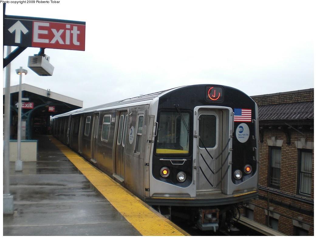 (192k, 1044x788)<br><b>Country:</b> United States<br><b>City:</b> New York<br><b>System:</b> New York City Transit<br><b>Line:</b> BMT Nassau Street/Jamaica Line<br><b>Location:</b> Norwood Avenue <br><b>Route:</b> J<br><b>Car:</b> R-160A-1 (Alstom, 2005-2008, 4 car sets)  8449 <br><b>Photo by:</b> Roberto C. Tobar<br><b>Date:</b> 4/11/2009<br><b>Viewed (this week/total):</b> 0 / 1198