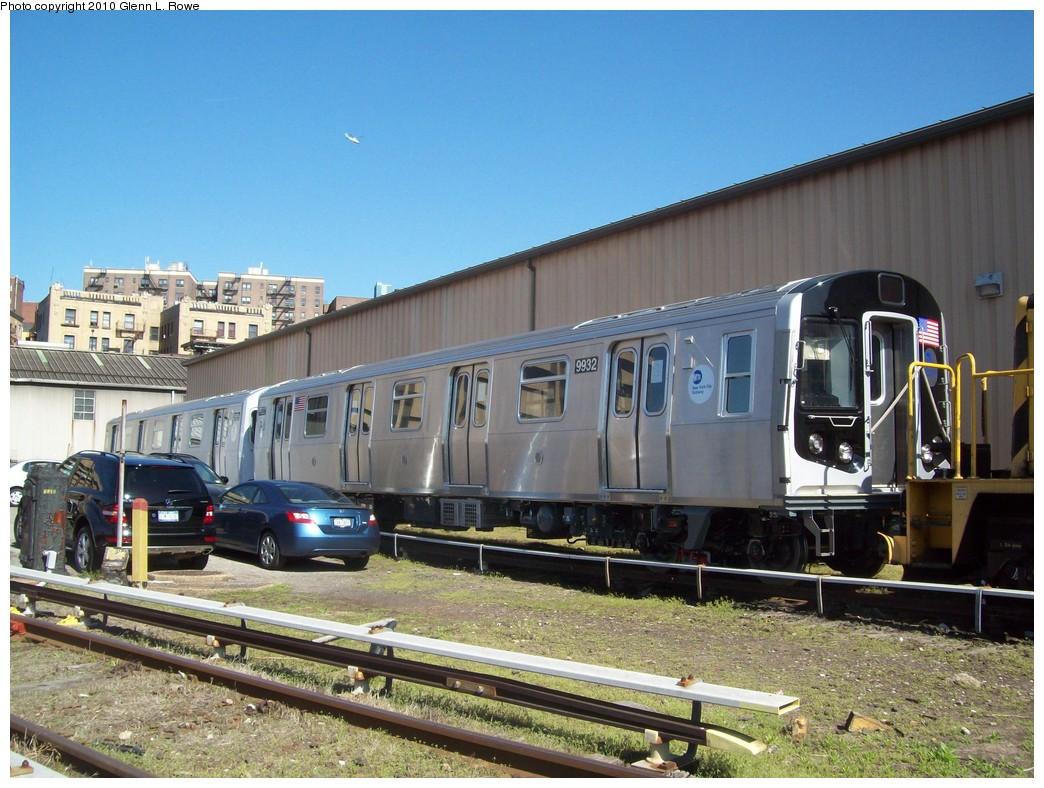 (246k, 1044x788)<br><b>Country:</b> United States<br><b>City:</b> New York<br><b>System:</b> New York City Transit<br><b>Location:</b> 207th Street Yard<br><b>Car:</b> R-160A (Option 1) (Alstom, 2008-2009, 5 car sets)  9332 <br><b>Photo by:</b> Glenn L. Rowe<br><b>Date:</b> 4/14/2010<br><b>Viewed (this week/total):</b> 0 / 832