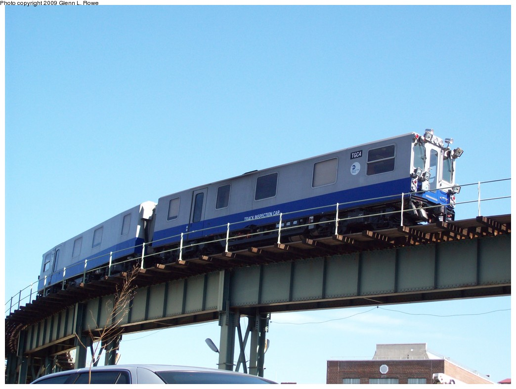 (162k, 1044x788)<br><b>Country:</b> United States<br><b>City:</b> New York<br><b>System:</b> New York City Transit<br><b>Location:</b> 207th Street Yard<br><b>Car:</b> Track Geometry Car TGC4 <br><b>Photo by:</b> Glenn L. Rowe<br><b>Date:</b> 4/16/2009<br><b>Viewed (this week/total):</b> 3 / 1499