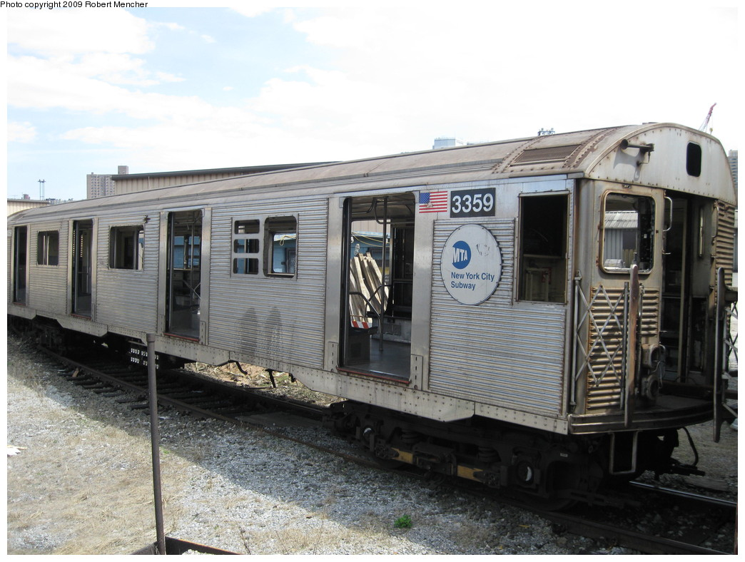 (228k, 1044x788)<br><b>Country:</b> United States<br><b>City:</b> New York<br><b>System:</b> New York City Transit<br><b>Location:</b> 207th Street Yard<br><b>Car:</b> R-32 (Budd, 1964)  3359 <br><b>Photo by:</b> Robert Mencher<br><b>Date:</b> 4/18/2009<br><b>Notes:</b> Scrap<br><b>Viewed (this week/total):</b> 5 / 1087