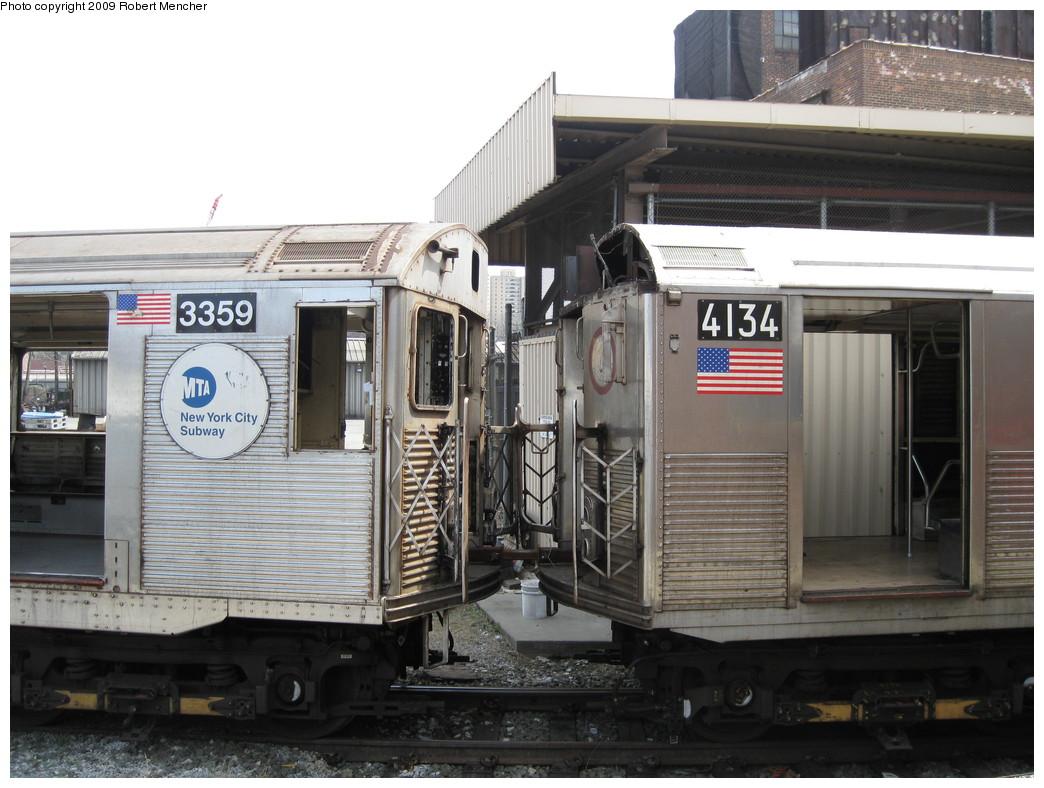 (213k, 1044x788)<br><b>Country:</b> United States<br><b>City:</b> New York<br><b>System:</b> New York City Transit<br><b>Location:</b> 207th Street Yard<br><b>Car:</b> R-32 (Budd, 1964)  3359 <br><b>Photo by:</b> Robert Mencher<br><b>Date:</b> 4/18/2009<br><b>Notes:</b> With R38 4134<br><b>Viewed (this week/total):</b> 0 / 1266