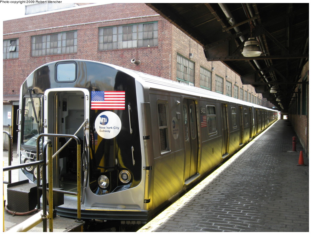 (262k, 1044x788)<br><b>Country:</b> United States<br><b>City:</b> New York<br><b>System:</b> New York City Transit<br><b>Location:</b> 207th Street Yard<br><b>Car:</b> R-160A (Option 1) (Alstom, 2008-2009, 5 car sets)  9422 <br><b>Photo by:</b> Robert Mencher<br><b>Date:</b> 4/18/2009<br><b>Viewed (this week/total):</b> 1 / 1754