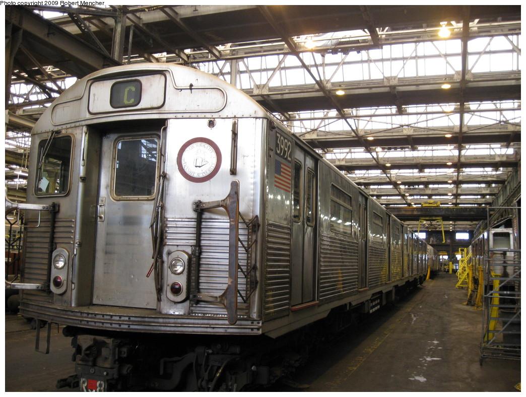 (262k, 1044x788)<br><b>Country:</b> United States<br><b>City:</b> New York<br><b>System:</b> New York City Transit<br><b>Location:</b> 207th Street Shop<br><b>Car:</b> R-38 (St. Louis, 1966-1967)  3992 <br><b>Photo by:</b> Robert Mencher<br><b>Date:</b> 4/18/2009<br><b>Viewed (this week/total):</b> 1 / 718