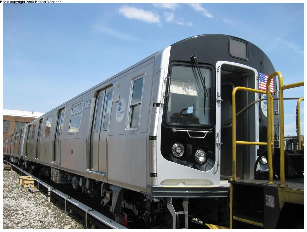 (197k, 1044x788)<br><b>Country:</b> United States<br><b>City:</b> New York<br><b>System:</b> New York City Transit<br><b>Location:</b> 207th Street Yard<br><b>Car:</b> R-160B (Option 1) (Kawasaki, 2008-2009)  9202 <br><b>Photo by:</b> Robert Mencher<br><b>Date:</b> 4/18/2009<br><b>Viewed (this week/total):</b> 0 / 1559