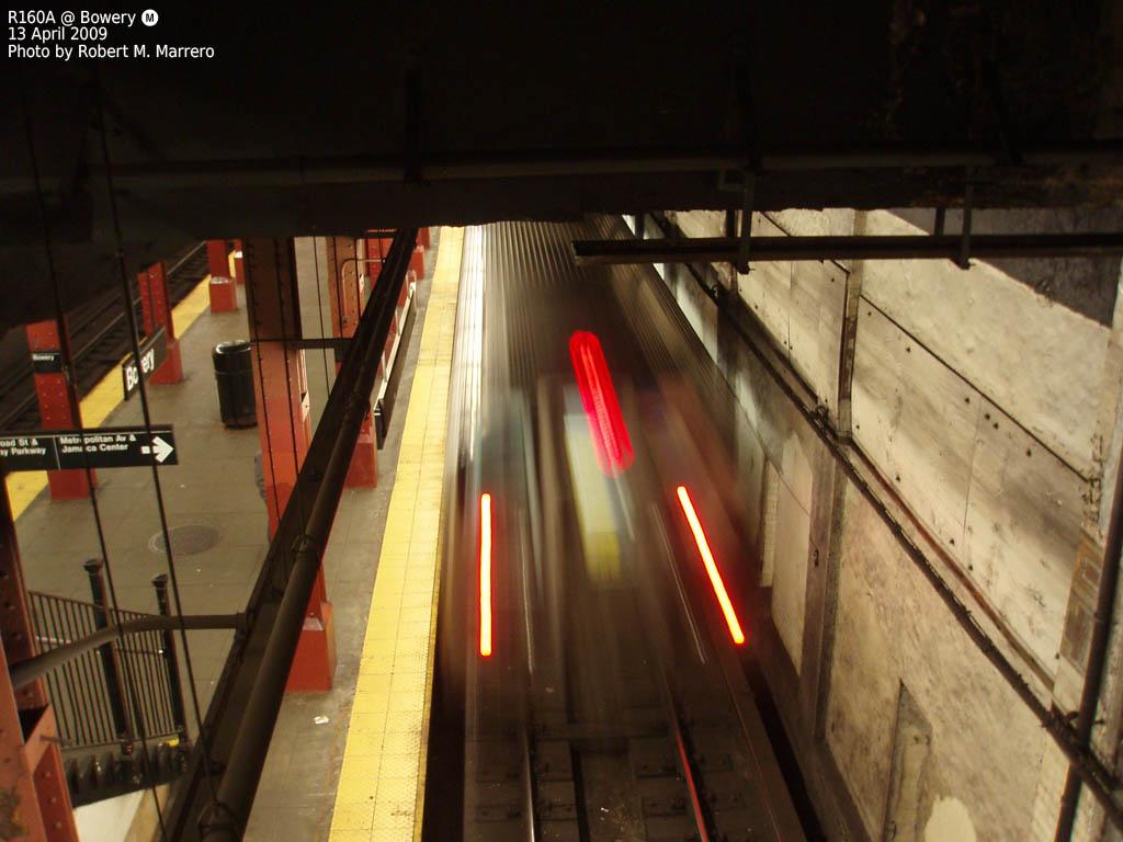(138k, 1024x768)<br><b>Country:</b> United States<br><b>City:</b> New York<br><b>System:</b> New York City Transit<br><b>Line:</b> BMT Nassau Street/Jamaica Line<br><b>Location:</b> Bowery <br><b>Route:</b> M<br><b>Car:</b> R-160A-1 (Alstom, 2005-2008, 4 car sets)   <br><b>Photo by:</b> Robert Marrero<br><b>Date:</b> 4/13/2009<br><b>Viewed (this week/total):</b> 1 / 1731