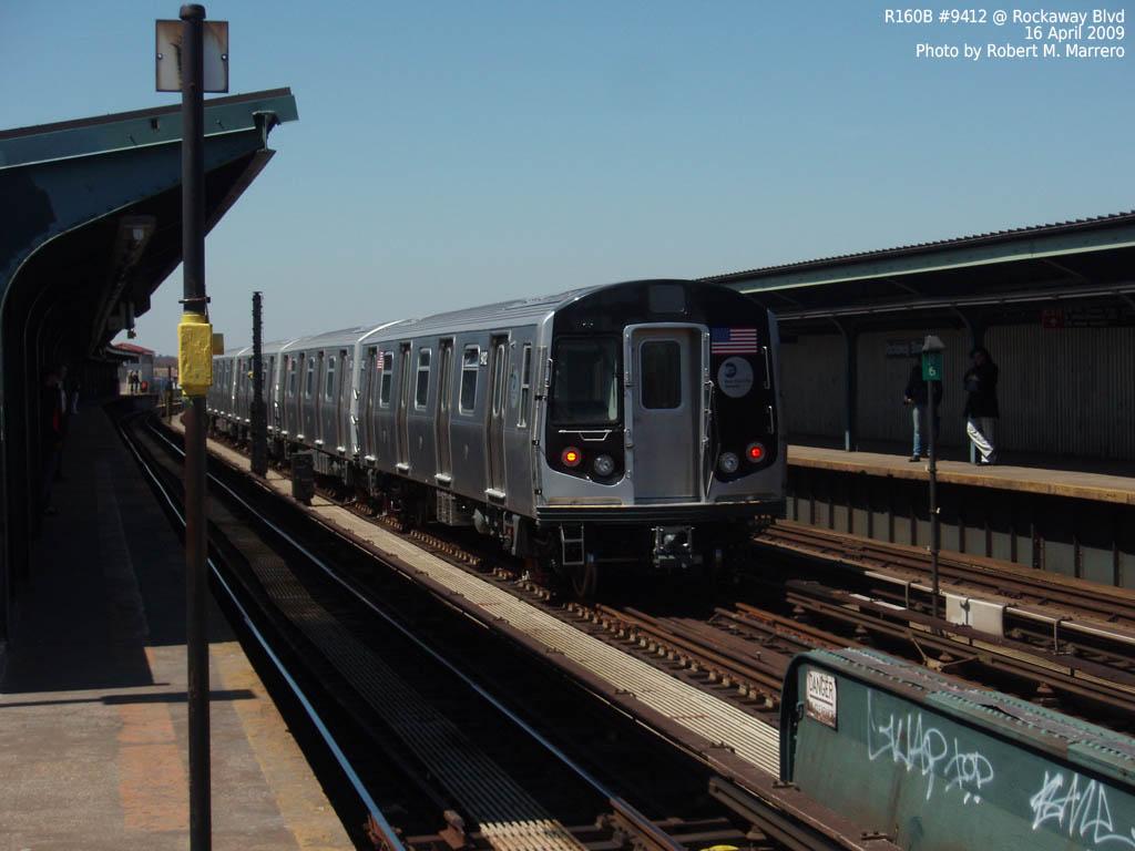 (133k, 1024x768)<br><b>Country:</b> United States<br><b>City:</b> New York<br><b>System:</b> New York City Transit<br><b>Line:</b> IND Fulton Street Line<br><b>Location:</b> Rockaway Boulevard <br><b>Route:</b> Testing<br><b>Car:</b> R-160A (Option 1) (Alstom, 2008-2009, 5 car sets)  9412 <br><b>Photo by:</b> Robert Marrero<br><b>Date:</b> 4/16/2009<br><b>Viewed (this week/total):</b> 1 / 1494