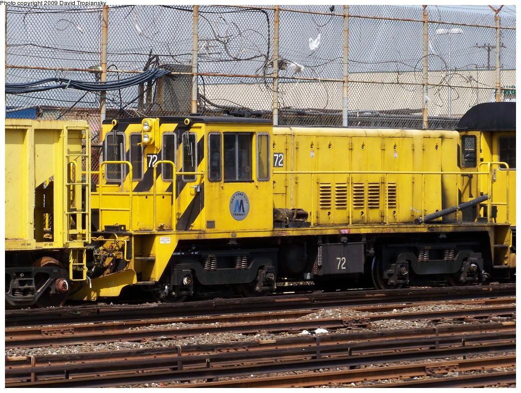 (354k, 1044x788)<br><b>Country:</b> United States<br><b>City:</b> New York<br><b>System:</b> New York City Transit<br><b>Location:</b> Rockaway Park Yard<br><b>Route:</b> Work Service<br><b>Car:</b> R-52 Locomotive  72 <br><b>Photo by:</b> David Tropiansky<br><b>Date:</b> 4/17/2009<br><b>Viewed (this week/total):</b> 1 / 862