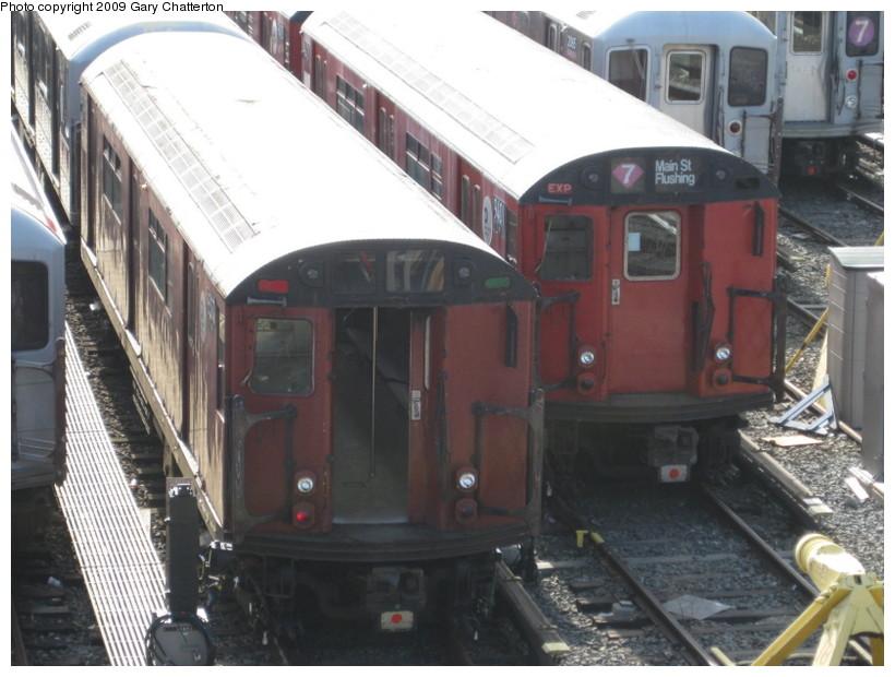 (129k, 820x620)<br><b>Country:</b> United States<br><b>City:</b> New York<br><b>System:</b> New York City Transit<br><b>Location:</b> Corona Yard<br><b>Car:</b> R-33 World's Fair (St. Louis, 1963-64) 9307 <br><b>Photo by:</b> Gary Chatterton<br><b>Date:</b> 4/5/2009<br><b>Notes:</b> With R36-WF 9401<br><b>Viewed (this week/total):</b> 8 / 1329
