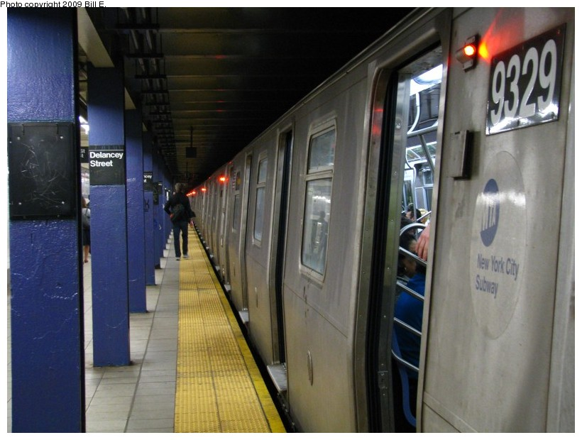 (123k, 820x620)<br><b>Country:</b> United States<br><b>City:</b> New York<br><b>System:</b> New York City Transit<br><b>Line:</b> IND 6th Avenue Line<br><b>Location:</b> Delancey Street <br><b>Route:</b> F<br><b>Car:</b> R-160A (Option 1) (Alstom, 2008-2009, 5 car sets)  9329 <br><b>Photo by:</b> Bill E.<br><b>Date:</b> 4/17/2009<br><b>Viewed (this week/total):</b> 4 / 2100